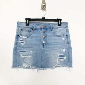 AE Super Stretch X Button-Fly Jean Skirt #2813